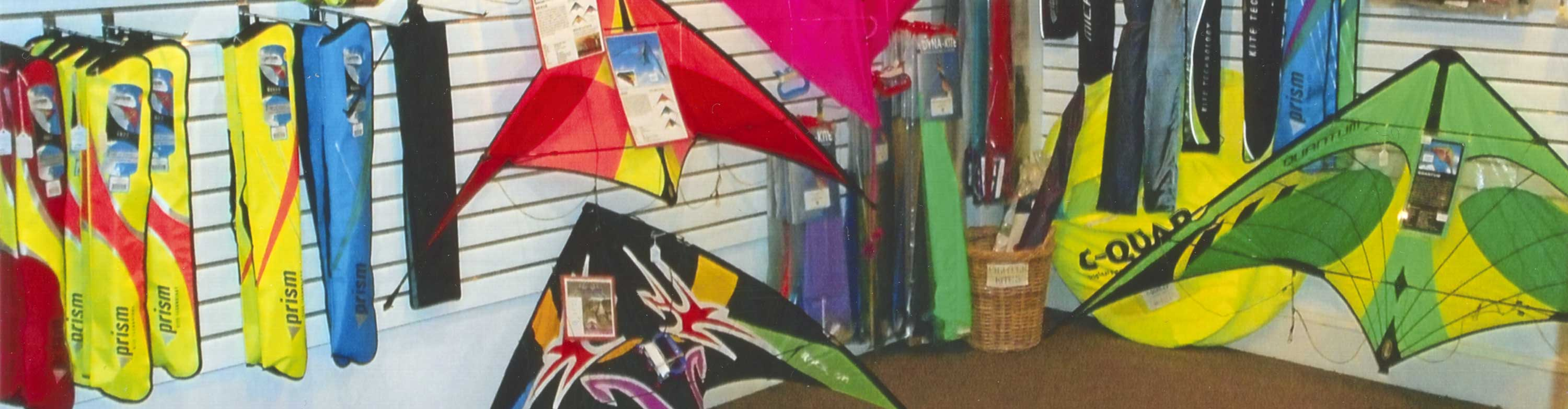 Our kite store is packed full of kites.